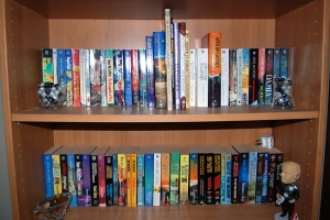 All my Anne McCaffrey books. She co-wrote quite a few, especially as she got older, but they TOTALLY count.