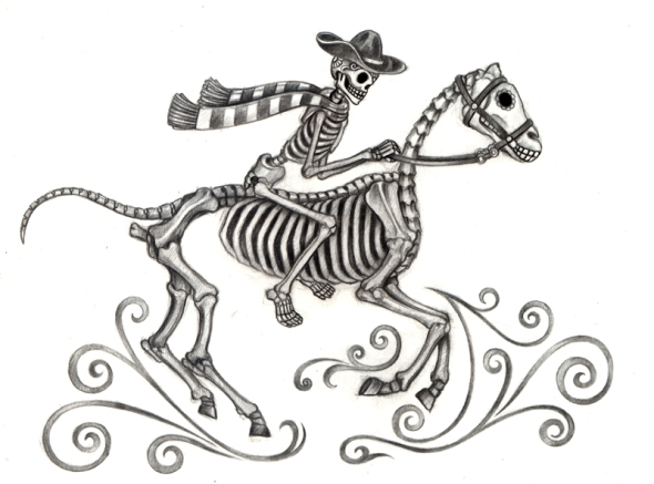 Skeleton cowboy flees bad joke (source: Shutterstock)